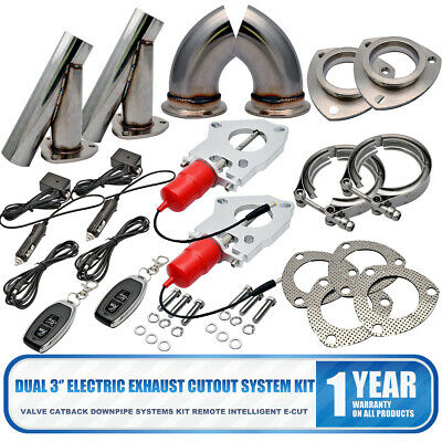 Dual 3'' Exhaust Valve Catback Downpipe Cutout E-Cut System Stainless Kit Remote