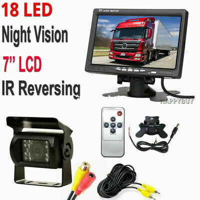 AV Car Truck Bus 7 Inch Monitor 12V 24V Parking KIT Rear View Reverse Camera+10M