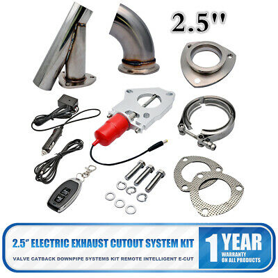 """2.5"""" Electric Exhaust Catback Downpipe Cutout E-Cut out Valve kit Switch Control"""