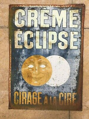 Antique, French Tin Sign , Original , 'Creme Eclipse', Early 1900's