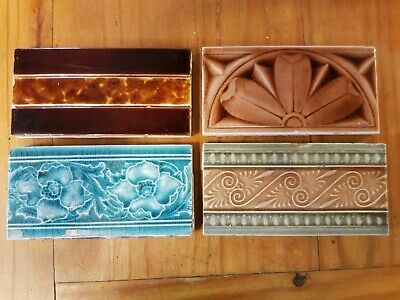 "4 ANTIQUE VICTORIAN 6"" x 3"" MAJOLICA BORDER TILES"