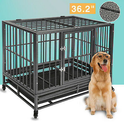 36'' Heavy Duty Metal Dog Crate Kennel Pet Cage Mobile House 4 Wheels With Tray