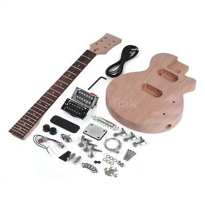 ammoon Children LP Style Unfinished DIY Electric Guitar Kit Mahogany Body & H7S7