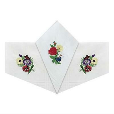 Pack of 3 Womens/Ladies Handkerchiefs Floral White Cotton Embroidered Gift Boxed