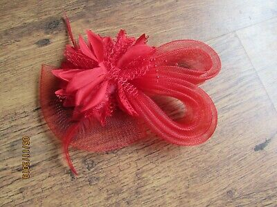 NEW RED BEADED Net Loop And Feather Facinator MOTHER OF BRIDE