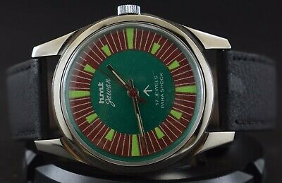Vintage HMT Military 17Jewels Winding Wrist Watch Men's Wear s-2027