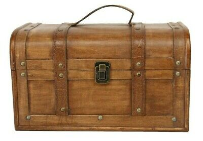 Natural Stained Wood Vintage Style Chest Storage Box Gisela Graham Case