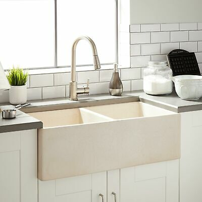 """33"""" Rena Reversible Double Bowl Fireclay Farmhouse Kitchen Sink in Crackled Beig"""