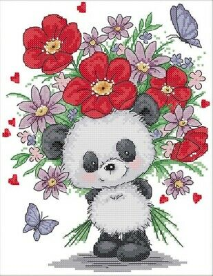 Bear Giving Flowers. 14CT Counted Cross Stitch Kit. Craft Brand New.