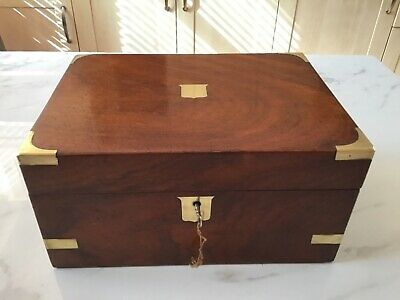 Victorian Mahogany With Brass Inlay -  Writing Slope - With Key