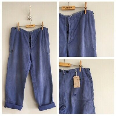 True Vintage Blue Cotton Chore Workwear Artisan Trousers Pants W34""