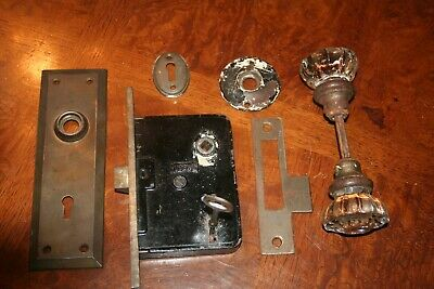 Vintage Russwin #7122 Push Button Motise Entry Lock Key Door Knob Set