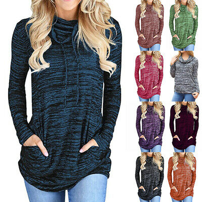 Womens Long Sleeve Sweatshirt Tops Ladies Baggy Casual Pocket Jumper Pullover T