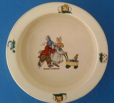 Vintage Bunny Baby Bowl 1930s - 40s Made in Japan UVC