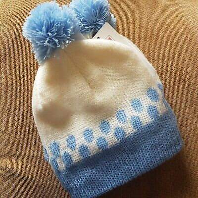 Pesci Baby Hat 0-3months Blue and White Spotted winter bobble woolly