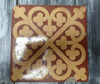 Rare Antique W.GODWIN Lugwardine Gothic Church Encaustic Floor Tile 6in x 6in
