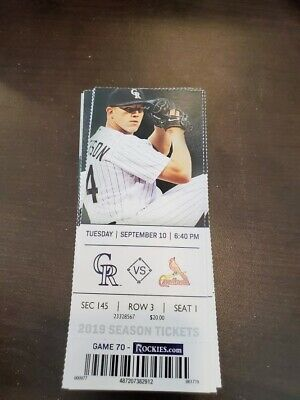 Colorado Rockies St. Louis Cardinals MINT Season Ticket 9/10/19 2019 MLB Stub
