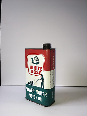 Vintage White Rose Outboard Motor Oil Can ~ Made in Canada ~ One Imperial Quart