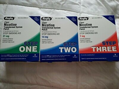 Rugby Clear Nicotine Patch System 21 mg 7 PATCHES Step 1 step2 4 14mg step 3 7mg