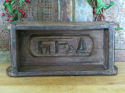 Carved Wood Wooden Farmhouse Brick 5lb Brick Butter Mold Cattle Brand Design