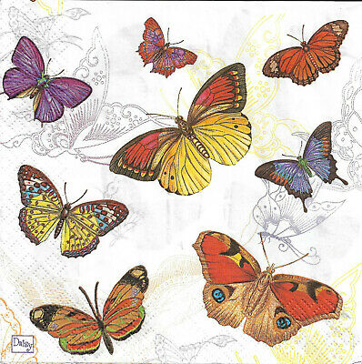 Lot de 4 Serviettes en papier Papillons Decoupage Collage Decopatch