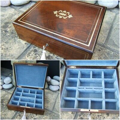 Lovely 19C French Inlaid Antique Jewellery Box  Fab Interior