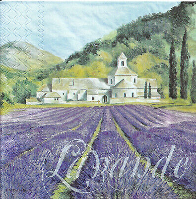Lot de 2 Serviettes en papier Champ de Lavande Decoupage Collage Decopatch