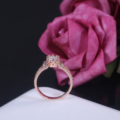 Women Elegant Rose Gold Filled Rings for Jewelry White Sapphire Size 6-10
