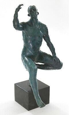Extra Large Surrealist Nude Man by Dali Green Patina Bronze Sculpture Art Decor