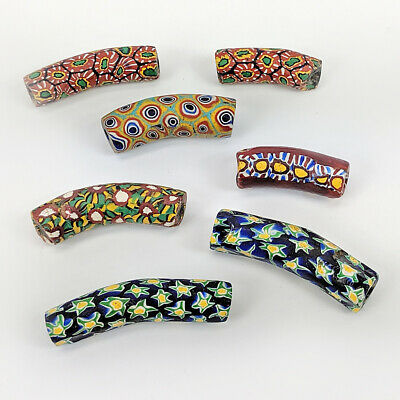 7 Antique Venetian Millefiori Green Glass African Trade Beads - Mixed Elbows