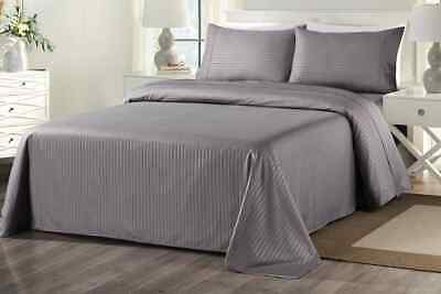 Royal Comfort 1000TC Blended Bamboo Bed Sheet Set with Stripes (Queen, Charcoal)