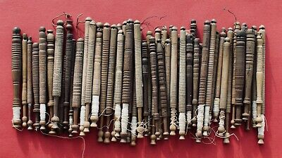 Collection Of 19Th Century Turned Wooden East Midlands Lace Making Bobbins.