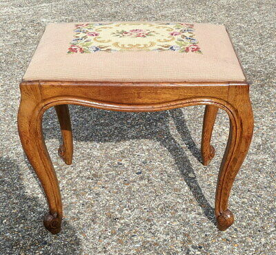 Antique Louis XV  Floral  Carved Footstool, Dressing table stool