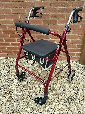 Mobility Walker 4 Wheeled With Seat, Storage Bag & Hand brakes Height Adjustable