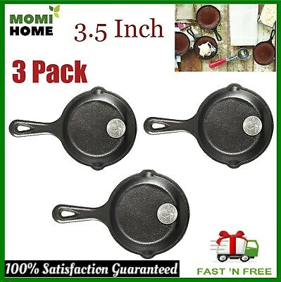 Cast Iron Griddle Pan Pre Seasoned Skillet Cookware Mini Small 3.5 Inch Set of 3