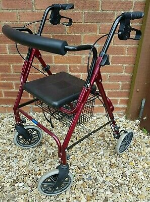 Mobility Walker 4 Wheeled With Seat, Basket, Hand brakes & Height Adjustable