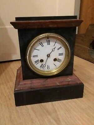 Antique Slate And Marble Mantel Clock* Maker A& N* Strikes On A Bell*