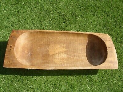 4ft ANTIQUE FRENCH DOUGH BIN TRENCHER TROUGH BOWL LARGE WOODEN CARVED TREE TRUNK
