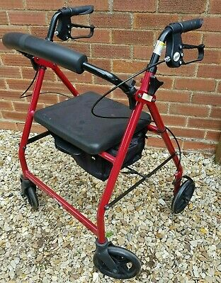 Drive Walker 4 Wheeled With Seat,Basket, Hand brakes & Height Adjustable