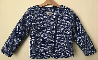 Next Girls Size 4-5 Quilted Blue Diamond Moto Jacket Chambray Detail Light