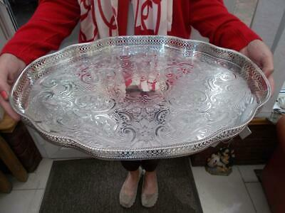 Superb Large Serpentine Silver Plated Gallery Tray Pepper & Hope Sheffield 1960S