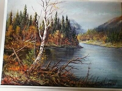 Matthew Kousal Czechoslovakia fall river Landscape Oil on Board Painting 1