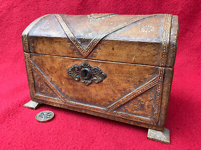 Antique Victorian Stationary / other Box, Leather Covered, decorated Pig Skin