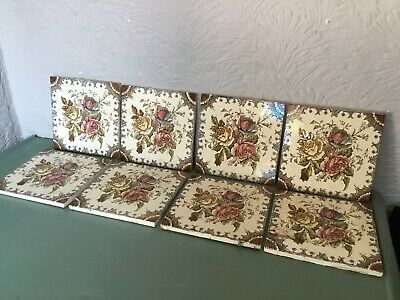Antique Victorian Floral Ceramic Fireplace Tiles-8 available #5699