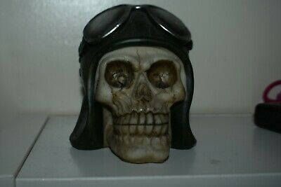 LATEX MOULD MOLD OF A SKULL WITH PILOTS CAP  10cmsx8cmsx8cms
