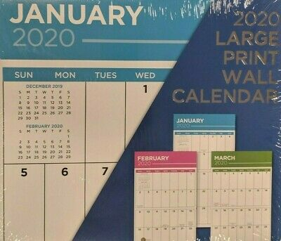 """2020 LARGE PRINT Wall Calendar 11""""X24"""" Inch:New:Free/Fast Same day S&h Out:8SOLD"""