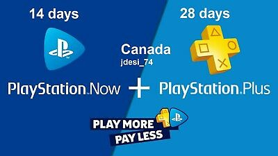 Play Station Plus 28 Days + 14 Days Ps Now  -Canada- (no code).