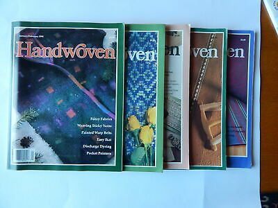 LOT of 5 issues HANDWOVEN MAGAZINE 1990 / 1991 Weaving Dyeing Interweave Press