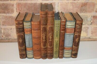 Vintage Antique Leather Bound Books, Shabby Shique Home Decor Lot of 9 Swedish