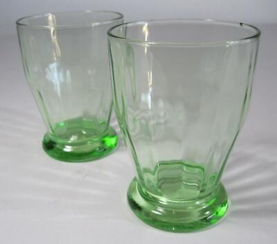 Vintage art deco green depression glass tumbler x 2- kitchenalia